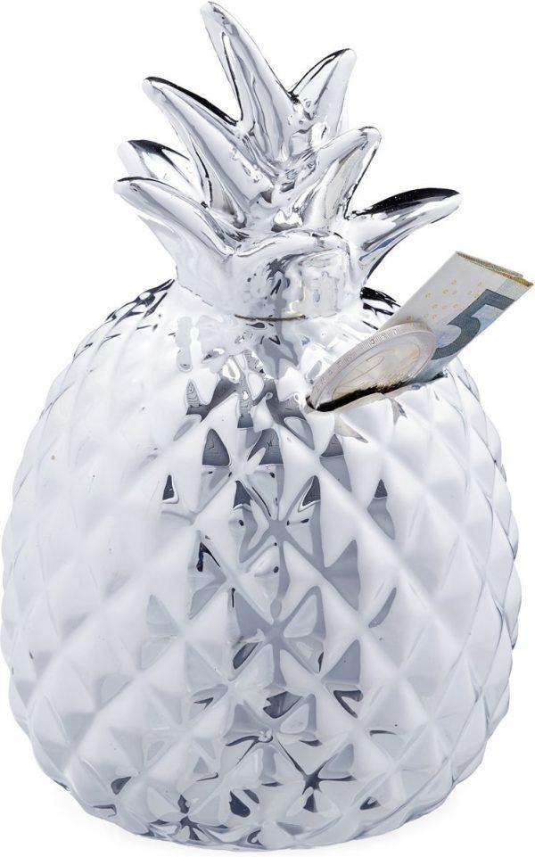 relaxdays Spaarpot ananas - spaarvarken - zilver - afsluitbare spaarpot - met slot