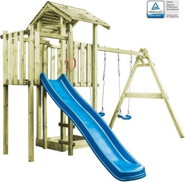 vidaXL Speelhuis ladder. glijbaan en schommels 407x381x263 cm FSC hout