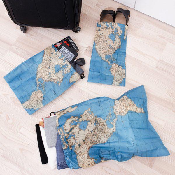 Kikkerland Travel waszak (set van 4) - Maps