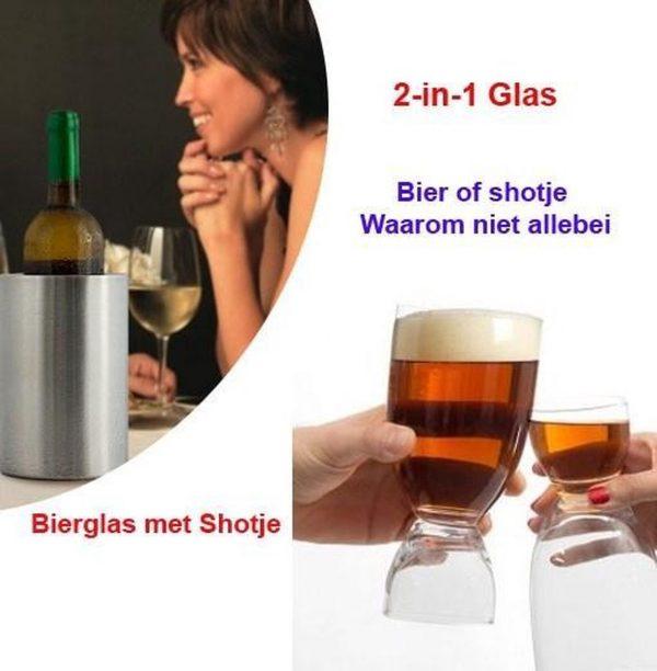 Bierglas met Shotje set van 4-stuks